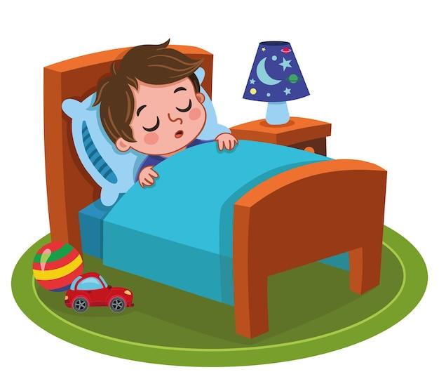 Illustration vectorielle d'un garçon endormi