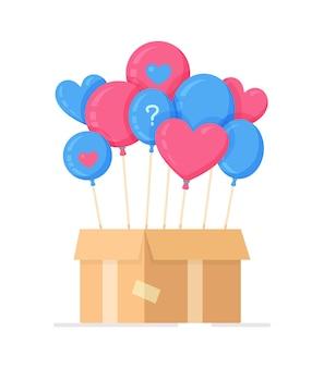 Illustration vectorielle d'un garçon ou d'une fille. ballons bleus et roses dans une boîte en carton. grossesse. connaître le sexe du bébé dans des ballons.