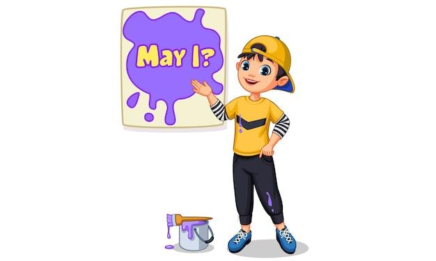 Illustration vectorielle de garçon mignon peignant une planche de texte 'may i'