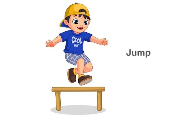 Illustration vectorielle de garçon mignon sautant