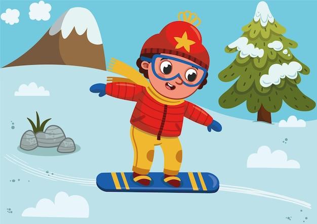 Illustration vectorielle d'un garçon de skieur