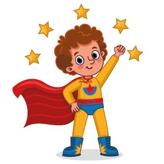 Illustration vectorielle de garçon de super-héros debout avec une pose de super-héros caricature isolée
