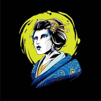 Illustration vectorielle de geisha. convient pour les t-shirts, les imprimés et les vêtements