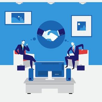 Illustration vectorielle de gens d'affaires poignée de main concept dans un style plat