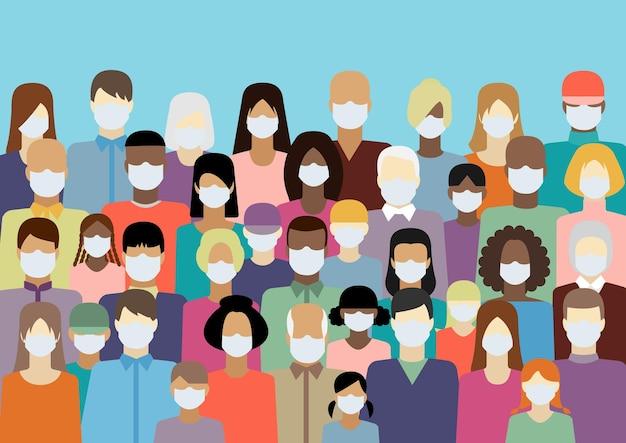 Illustration Vectorielle De Gens Blancs Masque Médical Vecteur Premium