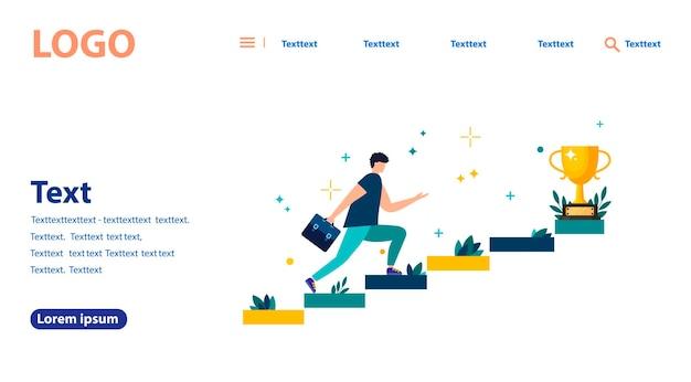 Illustration vectorielle, les gens courent vers leur objectif dans les escaliers ou les piliers, se déplaçant vers leur rêve. la motivation, le chemin vers le but. bannière web, site web mobile. modèle de page de destination.