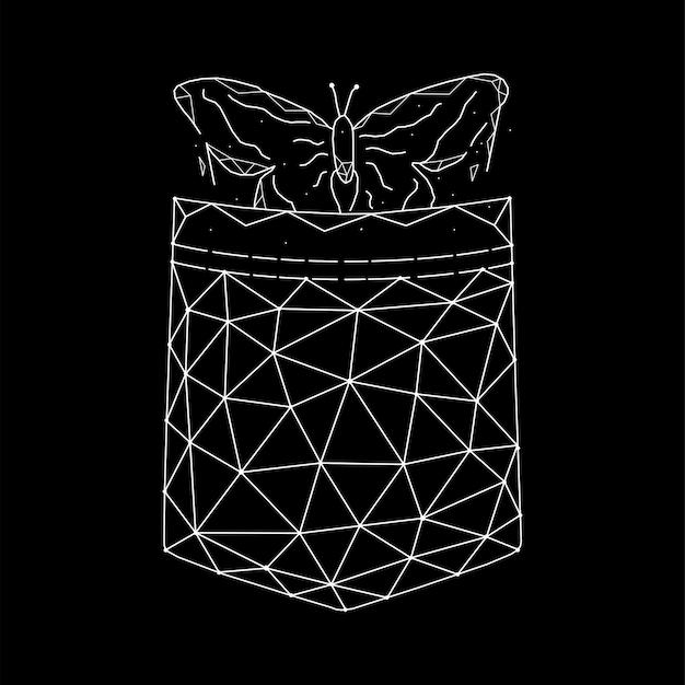 Illustration vectorielle géométrique papillon de poche sur fond noir.