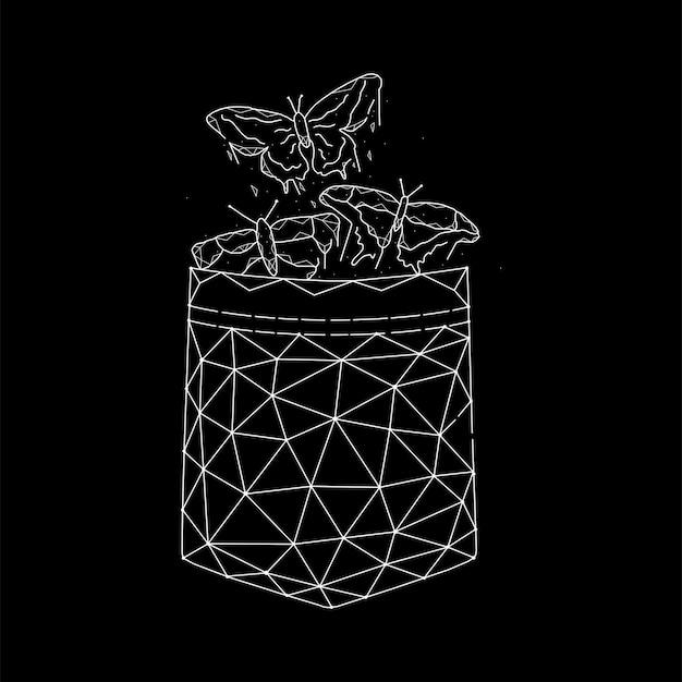 Illustration vectorielle géométrique de papillons de poche sur fond noir.