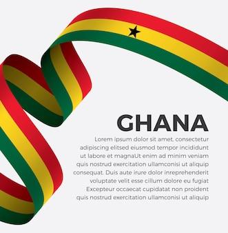 Illustration vectorielle de ghana ruban drapeau sur fond blanc vecteur premium