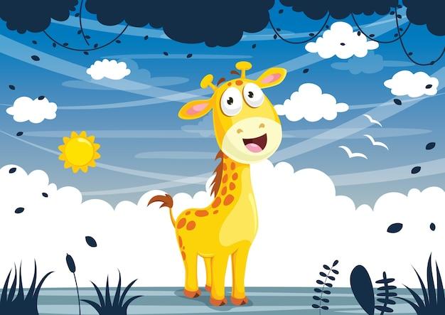 Illustration vectorielle de girafe de dessin animé