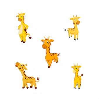 Illustration vectorielle d'une girafe de dessin animé
