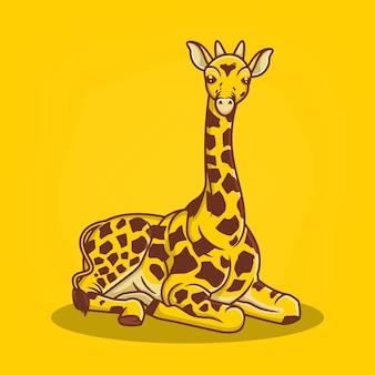 Illustration vectorielle de girafe dessinés à la main icône dessin animé