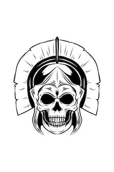 Illustration vectorielle de gladiateur crâne