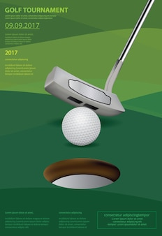 Illustration vectorielle de golf affiche