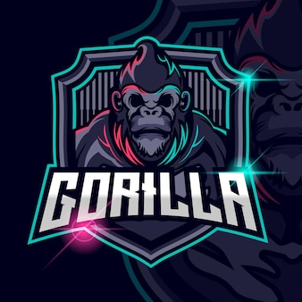 Illustration vectorielle de gorilla esport logo template design