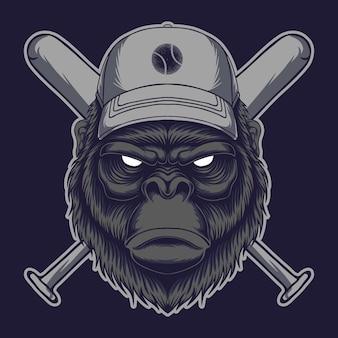 Illustration vectorielle de gorille tête bâton baseball