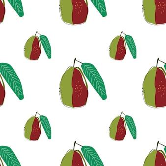 Illustration vectorielle de goyave plate fond transparent. modèle pour la conception d'un mode de vie sain. style scandinave. toile de fond d'été végétarien. art de la cuisine. affiche fraîche.