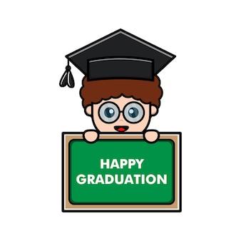 Illustration vectorielle de graduation heureux mignon