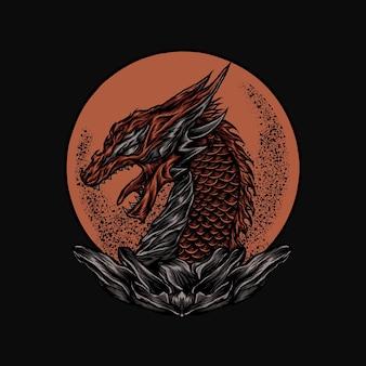 Illustration vectorielle de grand dragon rouge