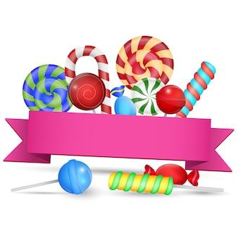 Illustration vectorielle d'un grand ensemble de bonbons avec signe vierge