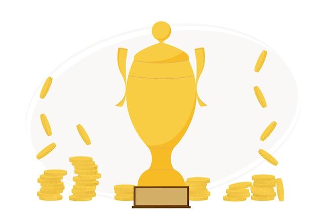 Illustration vectorielle d'une grande coupe de gagnant d'or et de nombreuses pièces d'or à proximité