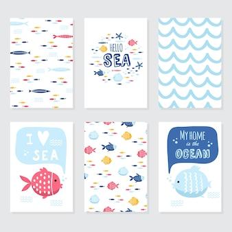 Illustration vectorielle de griffonnage. la mer du nord. style scandinave. cartes prêtes avec des animaux marins, baleine, épaulard, crabes mouette poissons symboles de la mer