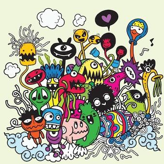 Illustration vectorielle de griffonnages de halloween dessinés à la main mignons