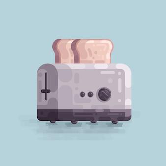 Illustration vectorielle de grille-pain cuisine pain blanc