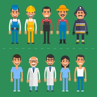 Illustration vectorielle, groupe de personnes constructeur médecin infirmière pompier agriculteur, format eps 10.