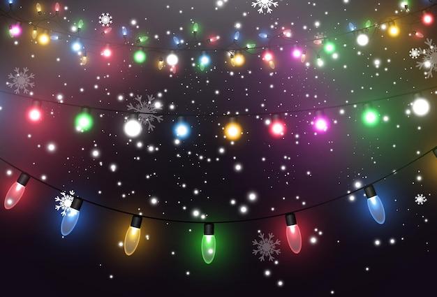 Illustration vectorielle d'une guirlande lumineuse sur fond transparent