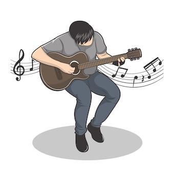 Illustration vectorielle de guitariste performance avec mélodie