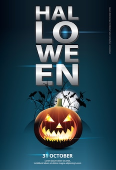 Illustration vectorielle de halloween poster template design