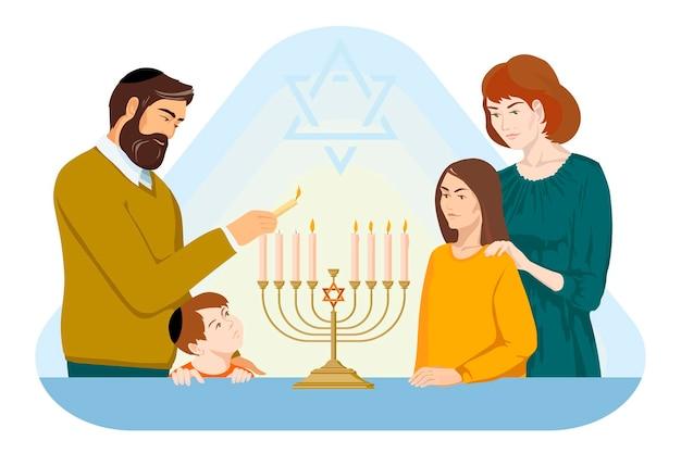 Illustration vectorielle de hanoucca parents et enfants de la famille juive