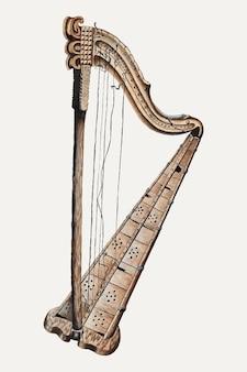 Illustration vectorielle de harpe vintage, remixée à partir de l'œuvre d'art de grace thomas