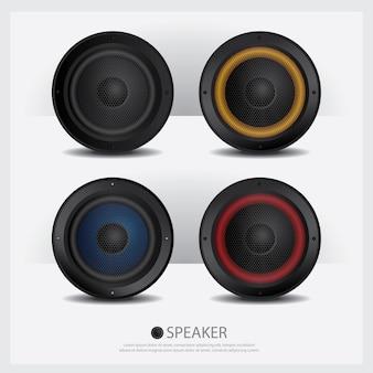 Illustration vectorielle de haut-parleurs isolés