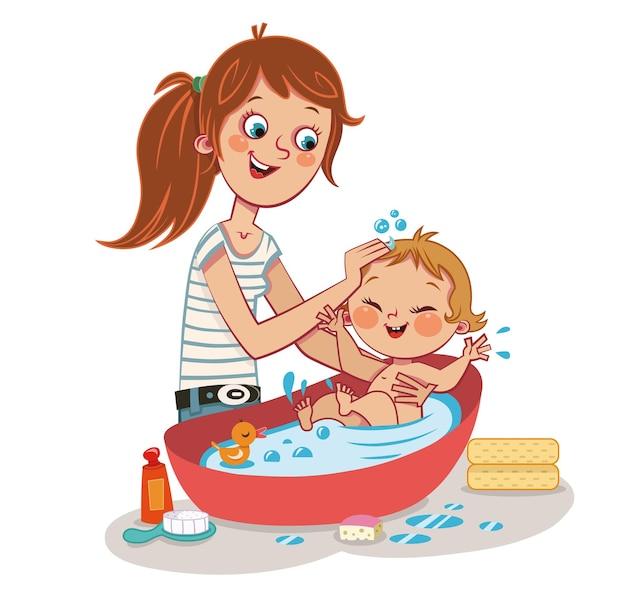 Illustration vectorielle de l'heure du bain