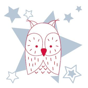 Illustration vectorielle d'un hibou mignon.