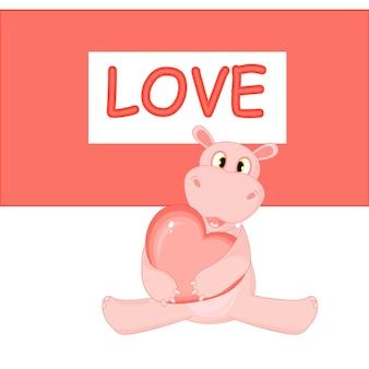 Illustration vectorielle avec hippo le jour de la saint-valentin.