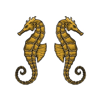 Illustration vectorielle d'hippocampe dessinés à la main