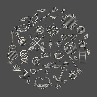 Illustration vectorielle de hipster doodle dessinés à la main sur brun. arrière-plan dessiné à la main.