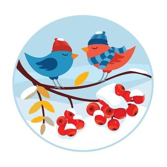 Illustration vectorielle hiver avec des oiseaux