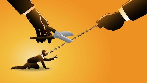 Illustration vectorielle d'un homme d'affaires enchaîné dans son cou, tirez par une main géante tandis que d'autres mains géantes avec un gros coupeur de métal prêt à couper la chaîne