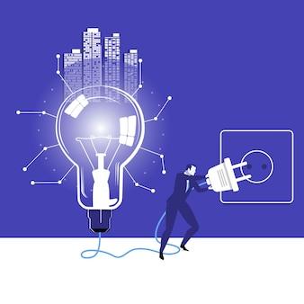 Illustration vectorielle d'homme d'affaires essayant d'allumer l'ampoule de l'idée