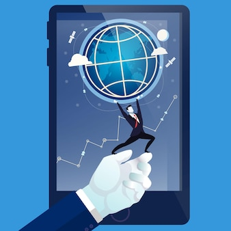 Illustration vectorielle d'homme d'affaires sur la main de l'homme tenant la terre