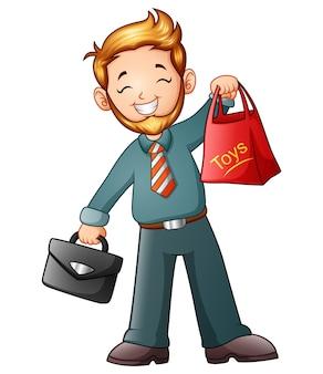 Illustration vectorielle de l'homme d'affaires en tenant le sac à provisions et porte-documents
