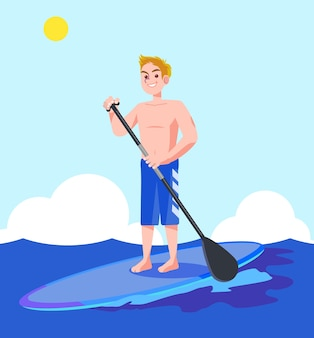 Une illustration vectorielle d'un homme appréciant le surf