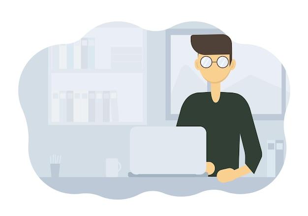 Illustration vectorielle d'un homme assis à une table de travail avec un ordinateur