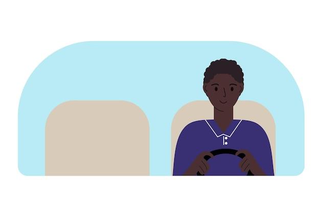 Illustration vectorielle d'un homme au volant. regarde à travers le pare-brise