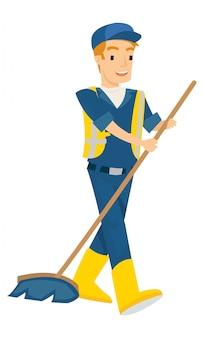 Illustration vectorielle de l'homme balayer la corbeille