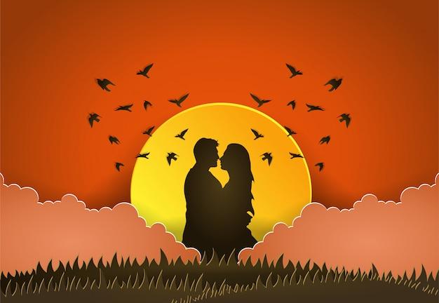 Illustration vectorielle homme et femme, style papier découpé